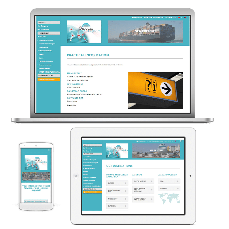 Sinodix Logistics site web vitrine quadrilingue