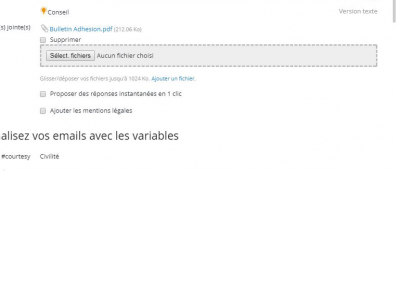 4-Possibilite de joindre fichier au mailing et variables sur Emailing